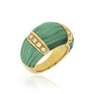 Malachite and Diamond Set Ring in 18ct Yellow Gold