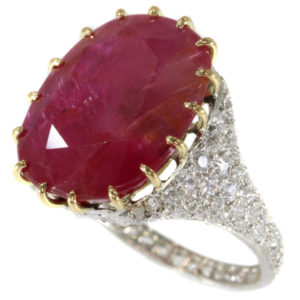 Antique Art Deco 13.50ct Ruby and Diamond Platinum ring