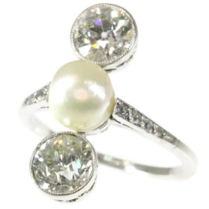 Antique Art Deco Natural Pearl Diamond Ring