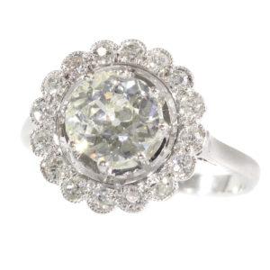 Antique Art Deco Old European Cut Diamond Cluster Ring