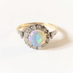 Antique Art Deco Opal Diamond Cluster Ring