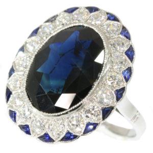 Antique Art Deco Sapphire Diamond Platinum Ring