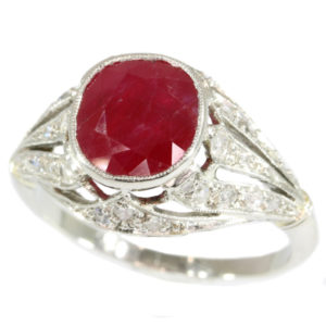 Antique Belle Époque French Burmese Ruby Diamond Ring