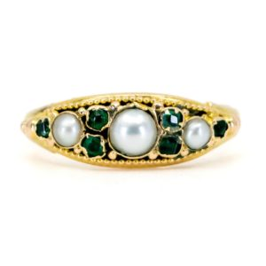 Antique Victorian Pearl Emerald Gold Ring