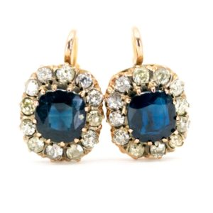 Antique Victorian Sapphire Diamond Cluster Drop Earrings