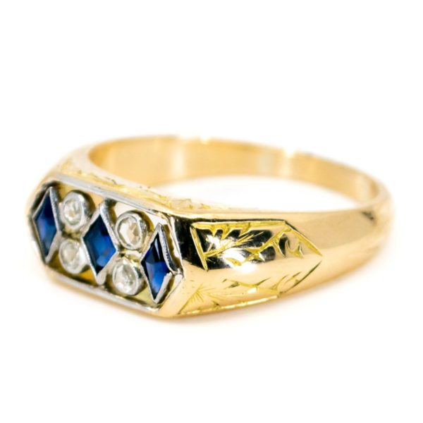 Art Deco Sapphire Rose Cut Diamond Gold Ring