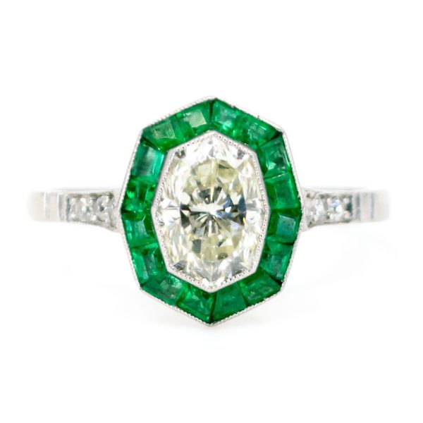 Art Deco Style 1.03ct Diamond and Emerald Target Platinum Ring