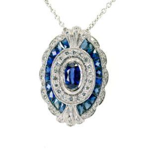 Art Deco Style Sapphire Diamond 18ct White Gold Pendant Necklace