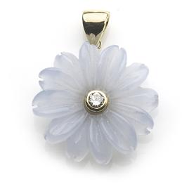 Chalcedony Diamond Daisy Flower 18ct Gold Pendant