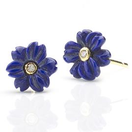 Lapis Lazuli Diamond Flower Earrings