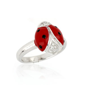Diamond Set Enamel Ladybird Ring, 18ct White Gold