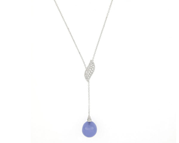 Fine Diamond Topped Blue Chalcedony Necklace, 18ct White Gold