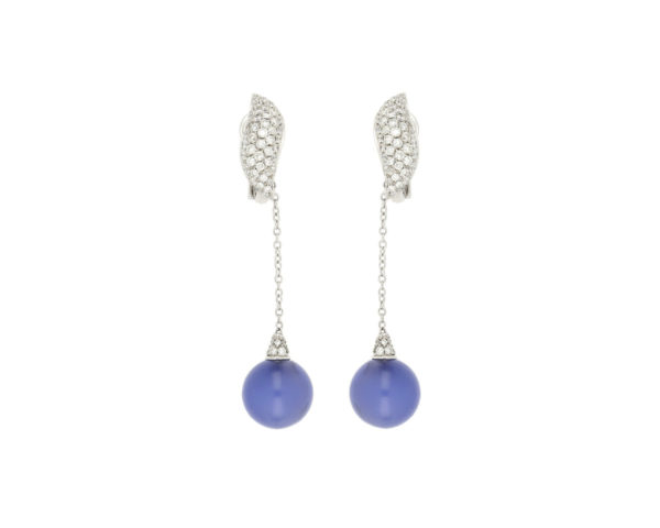 Fine Diamond Topped Blue Chalcedony Earrings, 18ct White Gold