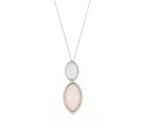 Rose Quartz, Blue Chalcedony and Diamond Set Drop Pendant Necklace, 18ct White Gold