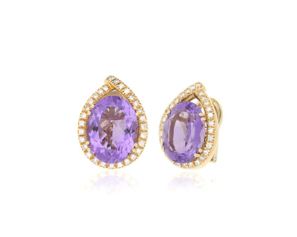 Fine Amethyst and Diamond Earrings, 18ct Yellow Gold