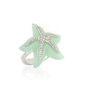 Blue Chalcedony and Diamond Set Starfish Ring, 18ct White Gold