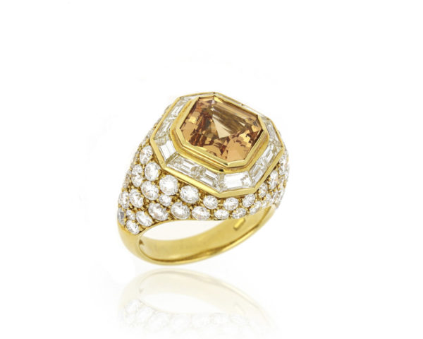 Fine Golden Imperial Topaz and Diamond Ring, 18ct Yellow Gold