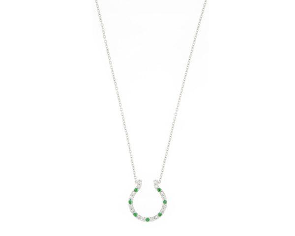 Emerald and Diamond Horseshoe Pendant Necklace, 18ct White Gold