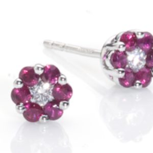 Ruby flower earrings cluster yellow gold diamonds studs