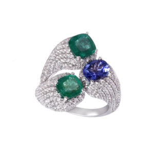 Diamond, Emerald and Tanzanite Cocktail Ring, 6.58ct total, 18ct Gold