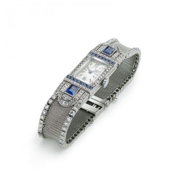 Tiffany Art Deco Diamond Sapphire Cocktail Watch
