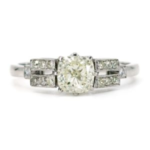 Vintage 1.01ct Cushion Cut Diamond Platinum Ring
