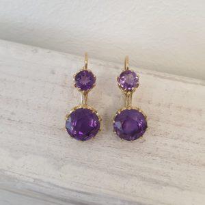 Vintage Amethyst Gold Drop Earrings