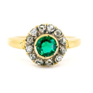 Vintage Emerald and Old Mine Cut Diamond Cluster Ring