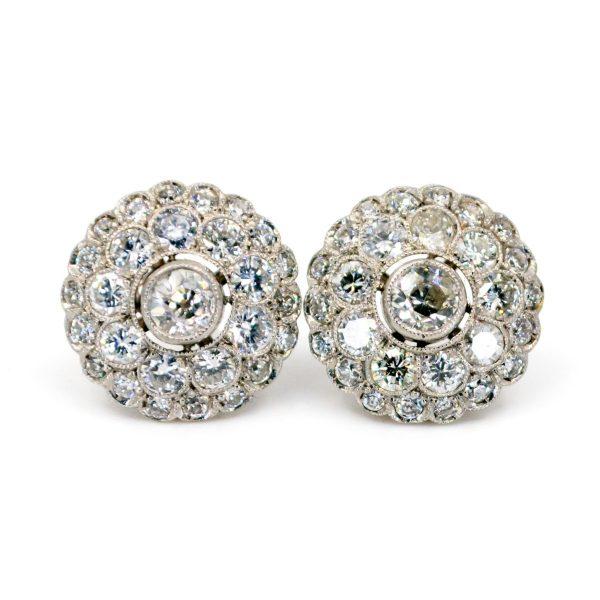Vintage Old Mine Cut Diamond Cluster Earrings Jewellery Discovery