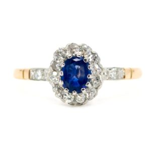 Vintage Oval Sapphire Old Mine Cut Diamond Cluster Ring
