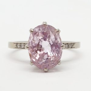 Vintage Pink Sapphire and Diamond Gold Ring