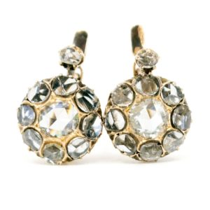 Vintage Rose Cut Diamond Drop Gold Earrings