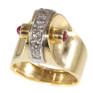 Vintage Retro Diamond and Ruby Dress Ring, 18ct Gold, Circa 1940