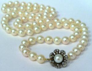Vintage Japanese Akoya Pearl Necklace with Diamond set Clasp