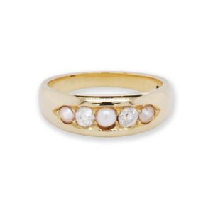 Vintage 1930's Pearl and Diamond Five-Stone Ring, 18ct Yellow Gold