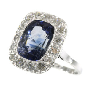 Antique Art Deco 7ct Sapphire Diamond Ring