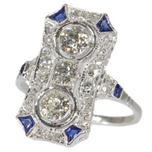 Antique Art Deco Diamond Sapphire Platinum Ring