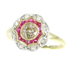 Antique Art Deco Old European Cut Diamond Ruby Ring