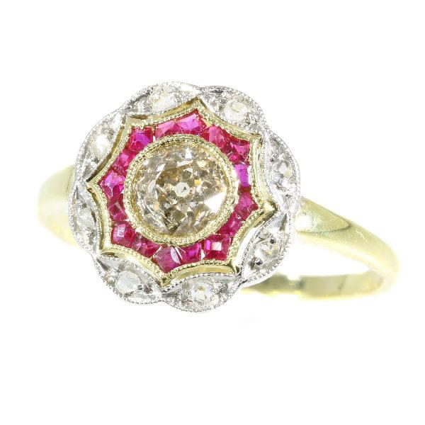Antique Art Deco Old European Cut Diamond Ruby Ring