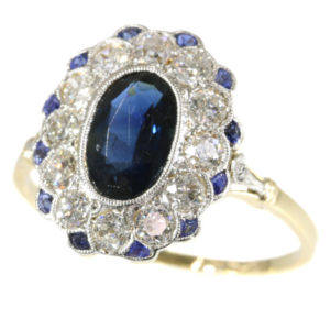 Antique Art Deco Sapphire Diamond Cluster Ring