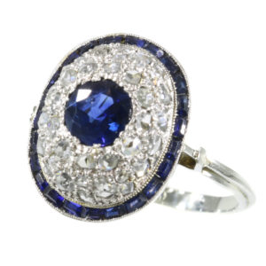 Antique Art Deco Sapphire Diamond Target Ring