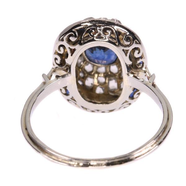 Antique Art Deco Sapphire Diamond Target Ring