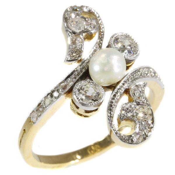 Antique Belle Époque Diamond Pearl Ring