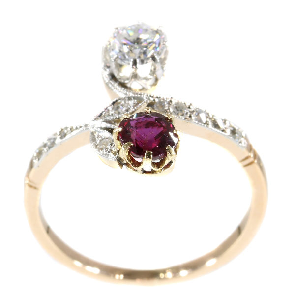 Antique Belle Époque Ruby Diamond 'Toi et Moi' Ring