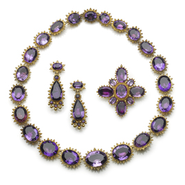 Antique Georgian Amethyst Gold Cannetille Suite