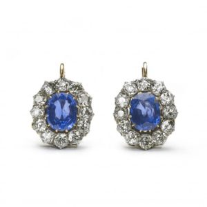 Antique Victorian 17ct Sapphire Diamond Cluster Earrings