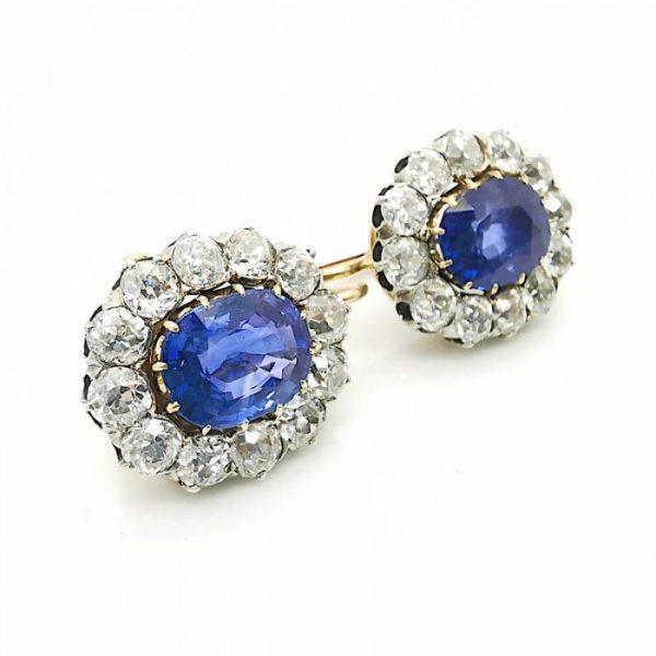 Antique Victorian 17ct Sapphire Diamond Cluster Earrings