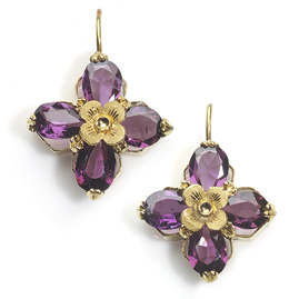 Antique Victorian Almandine Garnet Quatrefoil Earrings