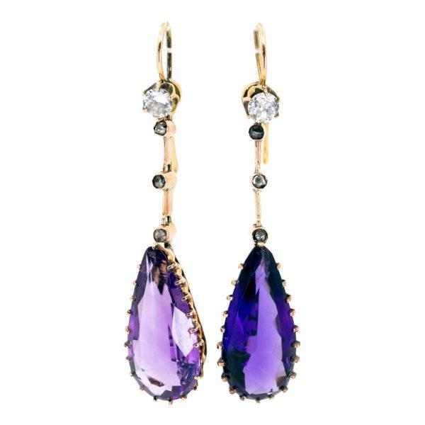 Antique Victorian Amethyst Diamond Drop Earrings
