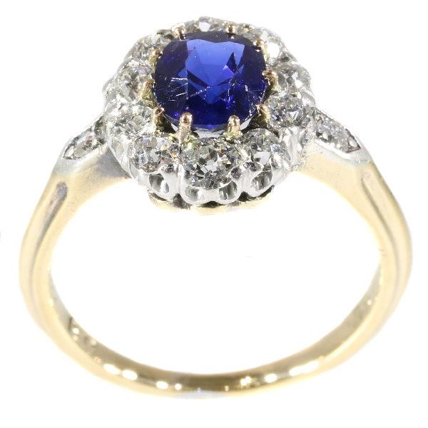 Antique Victorian Burma Sapphire Diamond Cluster Ring